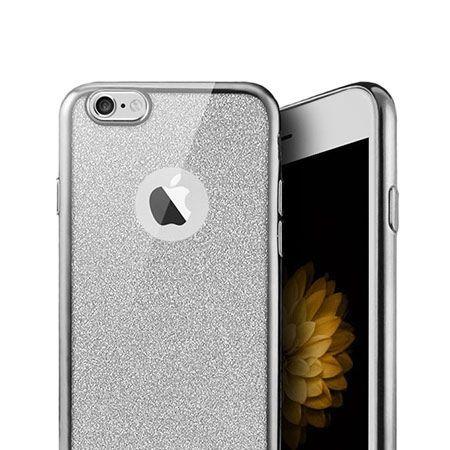 iPhone 6 etui brokat silikonowe SLIM tpu srebrne.