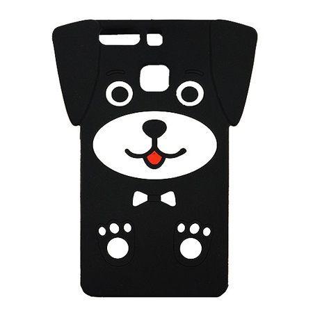 Etui na telefon Huawei P9 - gumowe 3D - piesek czarny