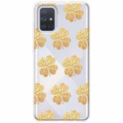 Etui na Samsung Galaxy A51 - Złote koniczynki