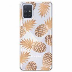 Etui na Samsung Galaxy A51 - Złote ananasy.
