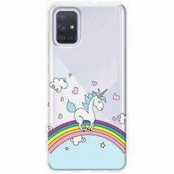 Etui na Samsung Galaxy A51 - Jednorożec na tęczy.
