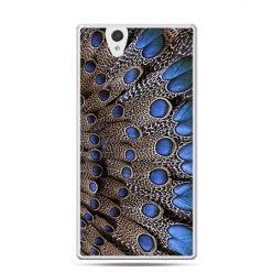 Etui na Sony Xperia Z niebieskie pióra