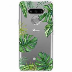 Etui na LG K50s - Zielone liście palmowca