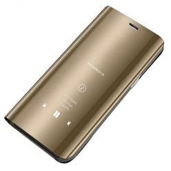 Etui na Huawei P40 Lite - Flip Clear View z klapką - Złoty.