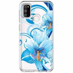 Etui na Samsung Galaxy M21 - Niebieski kwiat północy.