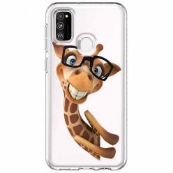 Etui na Samsung Galaxy M21 - Wesoła żyrafa w okularach.