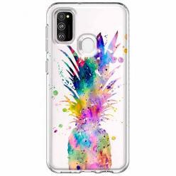 Etui na Samsung Galaxy M21 - Watercolor ananasowa eksplozja.