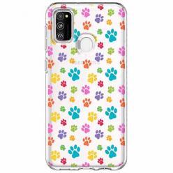 Etui na Samsung Galaxy M21 - Kolorowe psie łapki.