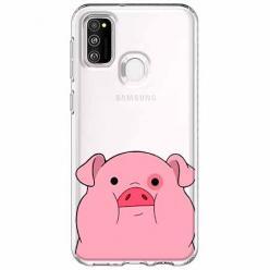 Etui na Samsung Galaxy M21 - Słodka różowa świnka.