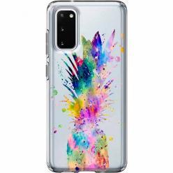 Etui na Samsung Galaxy S20 - Watercolor ananasowa eksplozja.