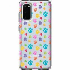 Etui na Samsung Galaxy S20 Plus - Kolorowe psie łapki.