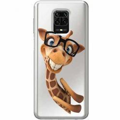Etui na Xiaomi Redmi Note 9 Pro - Wesoła żyrafa w okularach.