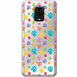 Etui na Xiaomi Redmi Note 9 Pro - Kolorowe psie łapki.