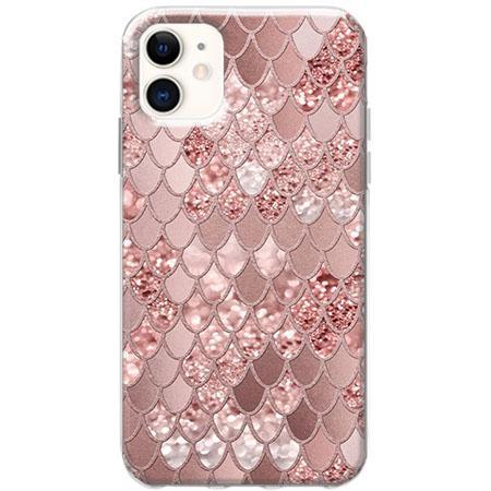 Etui na telefon Slim Case - Brokatowe łuski rózowe