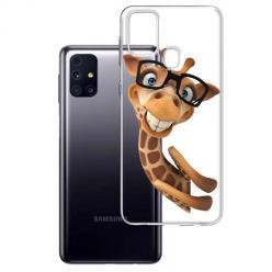 Etui na Samsung Galaxy M31s - Wesoła żyrafa w okularach.