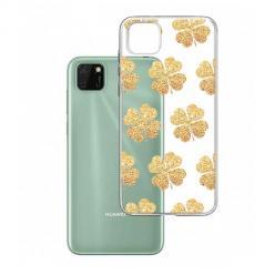 Etui na Huawei Y5P - Złote koniczynki.