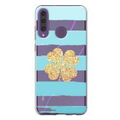 Etui na Huawei Y6P - Złota czterolistna koniczyna.