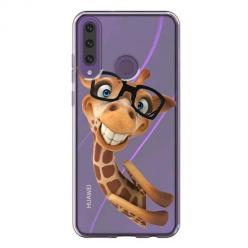 Etui na Huawei Y6P - Wesoła żyrafa w okularach.