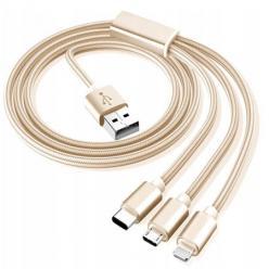 Kabel pleciony 3w1 Ładowarka iPhone + Micro USB + Typ - C - Złoty