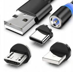 Kabel do ładowania 3w1 do każdego telefonu, iPhone + Micro USB + Typu C, Ładowarka,  Czarny