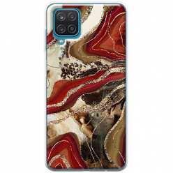 Etui na Samsung Galaxy A12 Rubinowo złoty Agat