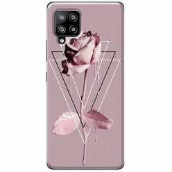 Etui na Samsung Galaxy A42 5G Farbowana Róża w trójkątach