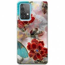 Etui na Samsung Galaxy A52 5G Czerwone kwiaty pozłacane