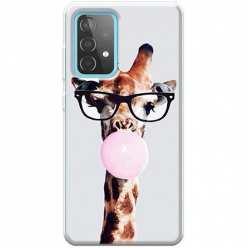 Etui na Samsung Galaxy A52 5G Żyrafa w okularach z gumą