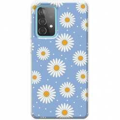 Etui na Samsung Galaxy A52 5G Stokrotki na niebieskim tle