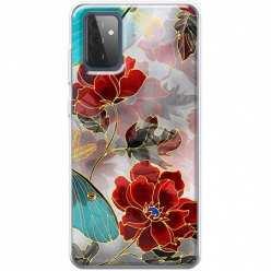 Etui na Samsung Galaxy A72 5G Czerwone kwiaty pozłacane