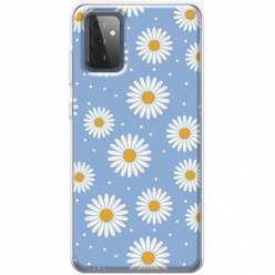 Etui na Samsung Galaxy A72 5G Stokrotki na niebieskim tle