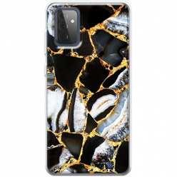 Etui na Samsung Galaxy A72 5G Czarny marmur złocony