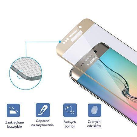 Galaxy S6 Edge Złote hartowane szkło na cały ekran.
