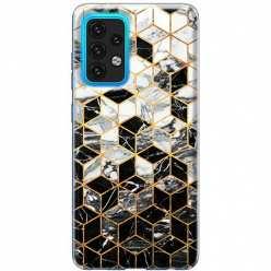 Etui na Samsung Galaxy A02s Geometryczny marmur czarno biały