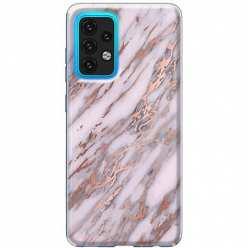 Etui na Samsung Galaxy A02s Różowy marmur pozłacany