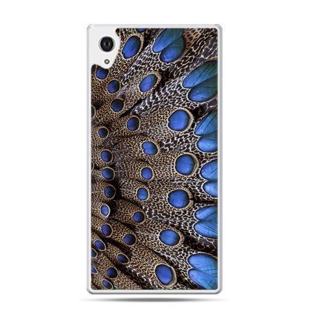 Etui na Xperia M4 Aqua niebieskie pióra
