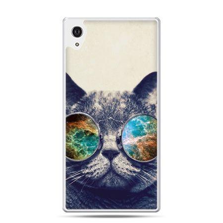 Etui na Xperia M4 Aqua kot w tęczowych okularach