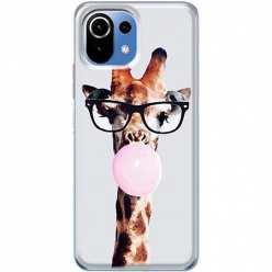 Etui na Xiaomi Mi 11 Lite Żyrafa w okularach z gumą