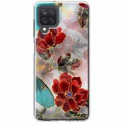 Etui na Samsung Galaxy M12 Czerwone kwiaty pozłacane