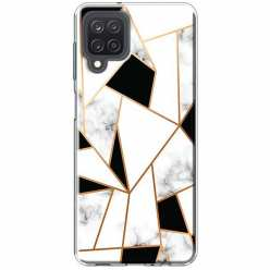 Etui na Samsung Galaxy M12 Biały marmur geometryczny