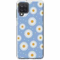 Etui na Samsung Galaxy M12 Stokrotki na niebieskim tle