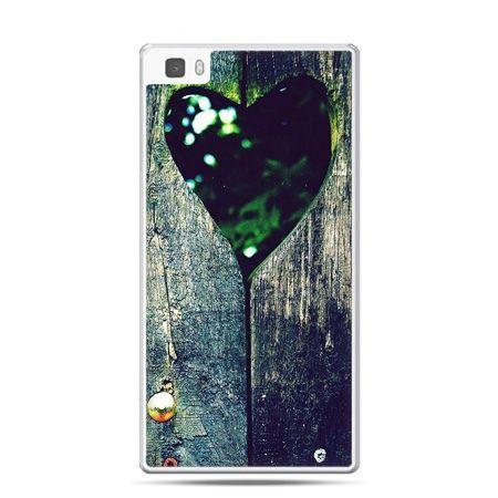 Huawei P8 Lite etui drewniane serce