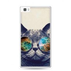 Huawei P8 Lite etui kot w tęczowych okularach