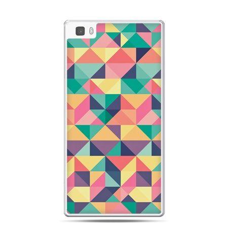Huawei P8 Lite etui kolorowe trójkąty