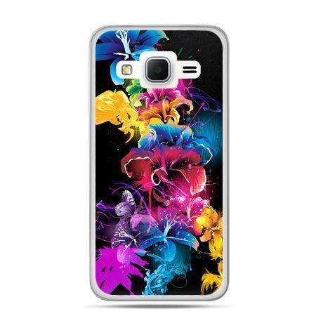 Galaxy Grand Prime etui kolorowe kwiaty