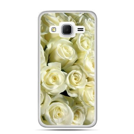 Galaxy Grand Prime etui białe róże