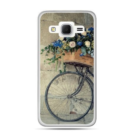 Galaxy Grand Prime etui rower z kwiatami