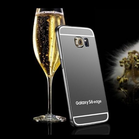 Galaxy S6 Edge etui aluminium bumper case mirror grafitowy