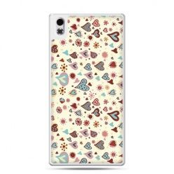 HTC Desire 816 etui kolorowe serca
