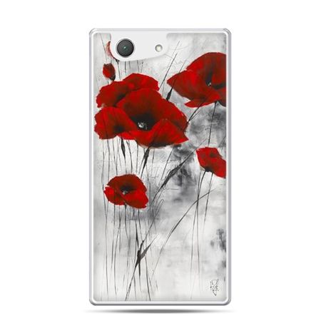 Etui na telefon Xperia Z4 compact czerwone maki